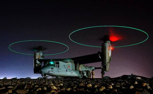 Wall Art - Photograph - V 22 Osprey Refueling Before Night Mission Central Iraq II by US Navy - L Brown