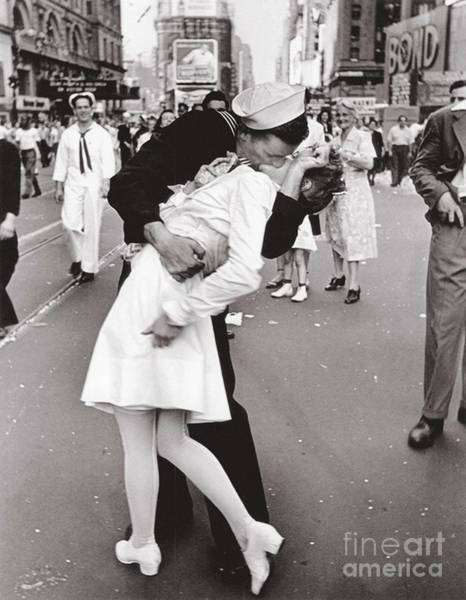 Wall Art - Photograph - V J Day Times Square - 1945 by Pg Reproductions