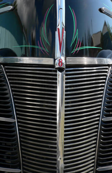 Photograph - V8-grille On Black Street Rod by Kathy K McClellan