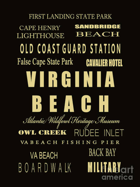 Us Civil War Digital Art - Va Beach Subway Bus Tram Scoll Typography by Dave Lynch