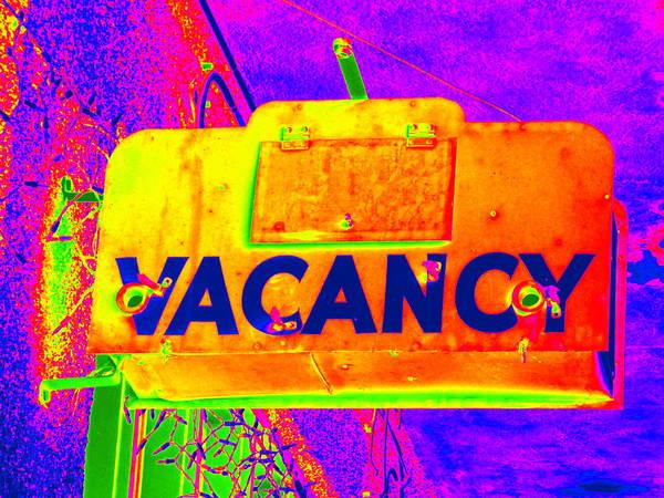 Neon Pink Photograph - Vacancy Hotel Sign by Karyn Robinson