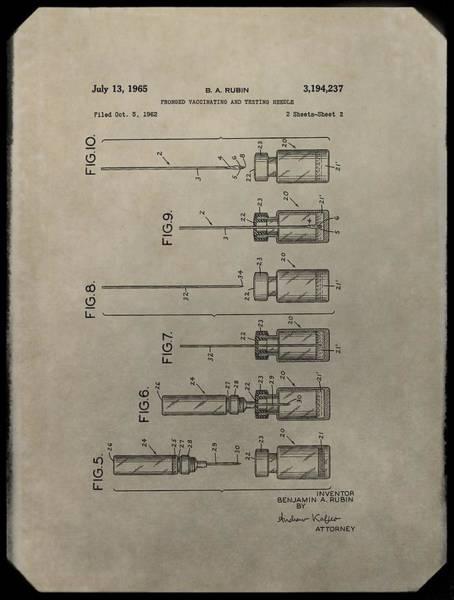 Digital Art - Vaccinating Needle Patent by Dan Sproul