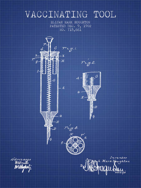 Needles Digital Art - Vaccination Tool Patent From 1902- Blueprint by Aged Pixel