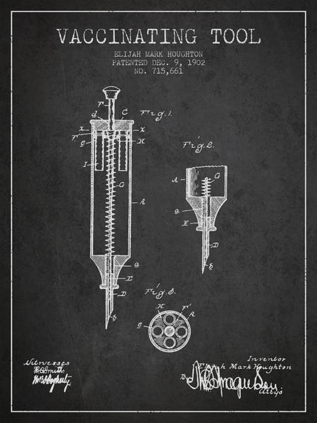 Needles Digital Art - Vaccination Tool Patent From 1902 - Dark by Aged Pixel