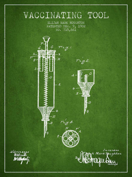 Needles Digital Art - Vaccination Tool Patent From 1902 - Green by Aged Pixel