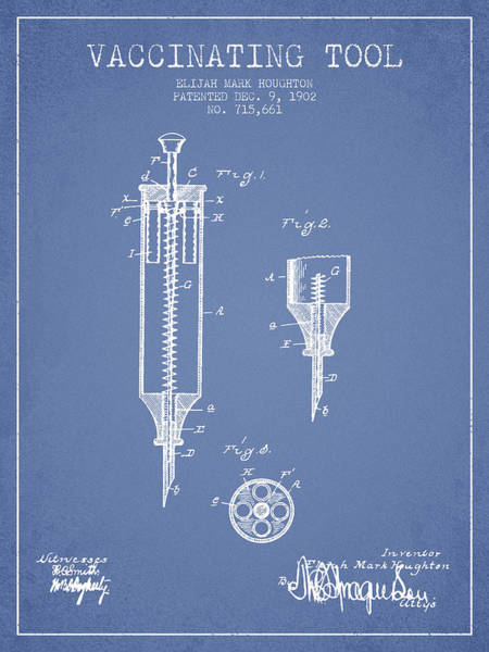 Needles Digital Art - Vaccination Tool Patent From 1902 - Light Blue by Aged Pixel
