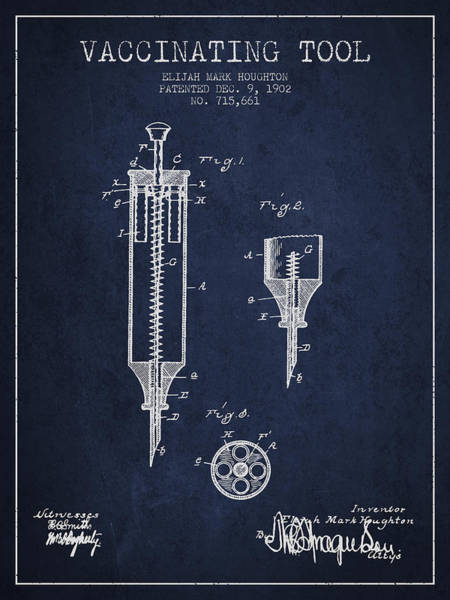 Needles Digital Art - Vaccination Tool Patent From 1902 - Navy Blue by Aged Pixel