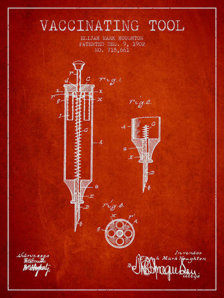 Needles Digital Art - Vaccination Tool Patent From 1902 - Red by Aged Pixel