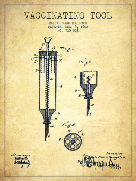 Needles Digital Art - Vaccination Tool Patent From 1902 - Vintage by Aged Pixel