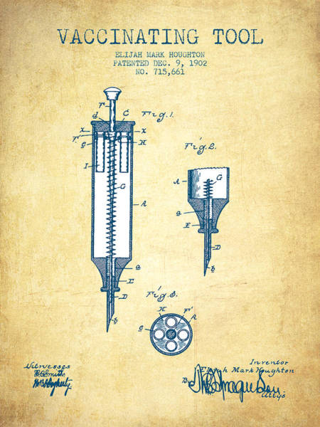 Needles Digital Art - Vaccination Tool Patent From 1902 - Vintage Paper by Aged Pixel