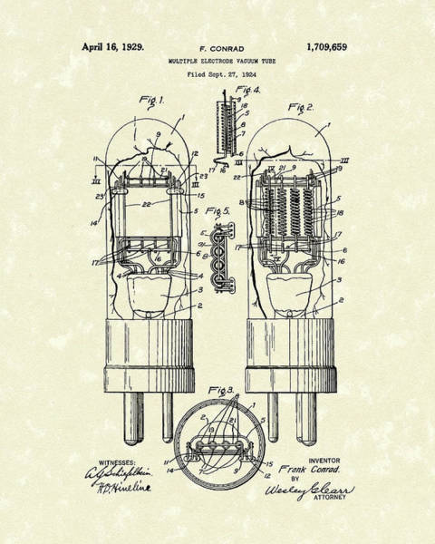 Drawing - Vacuum Tube 1929 Patent Art by Prior Art Design