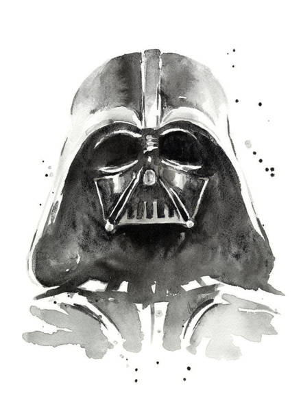 Star Painting - Darth Vader Watercolor by Olga Shvartsur