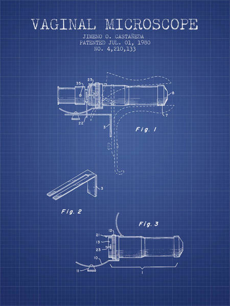 Wall Art - Digital Art - Vaginal Microscope Patent From 1980 - Blueprint by Aged Pixel