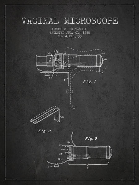 Wall Art - Digital Art - Vaginal Microscope Patent From 1980 - Dark by Aged Pixel