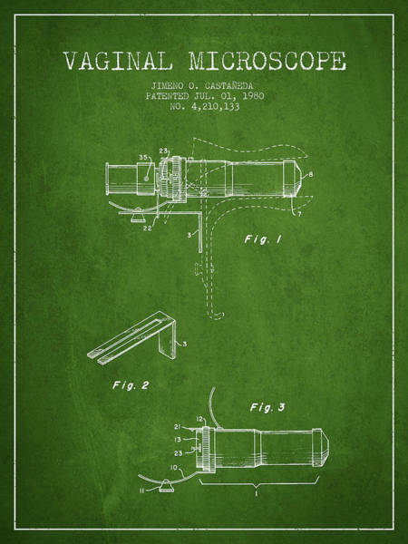 Wall Art - Digital Art - Vaginal Microscope Patent From 1980 - Green by Aged Pixel
