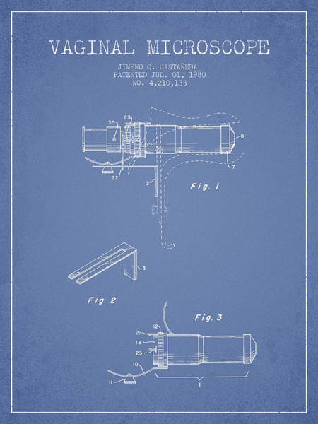 Wall Art - Digital Art - Vaginal Microscope Patent From 1980 - Light Blue by Aged Pixel
