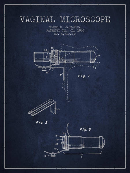 Microscope Wall Art - Digital Art - Vaginal Microscope Patent From 1980 - Navy Blue by Aged Pixel