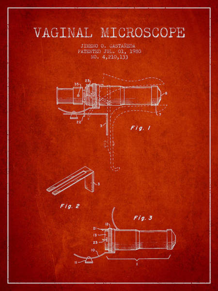 Wall Art - Digital Art - Vaginal Microscope Patent From 1980 - Red by Aged Pixel