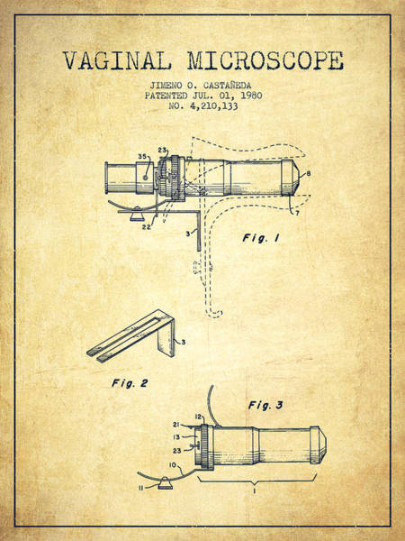 Wall Art - Digital Art - Vaginal Microscope Patent From 1980 - Vintage by Aged Pixel
