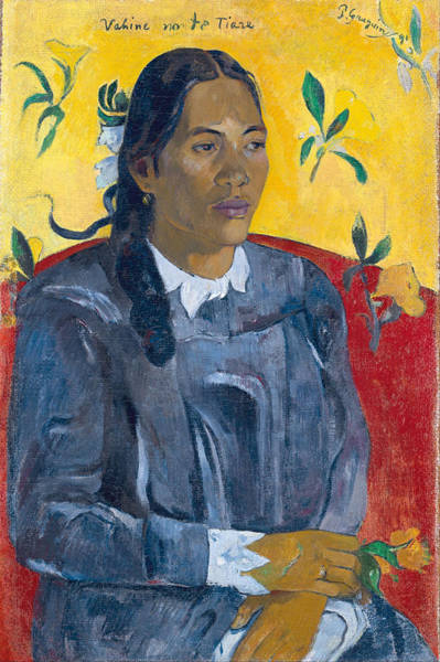 Impressionist Photograph - Vahine No Te Tiare Woman With A Flower, 1891 Oil On Canvas by Paul Gauguin