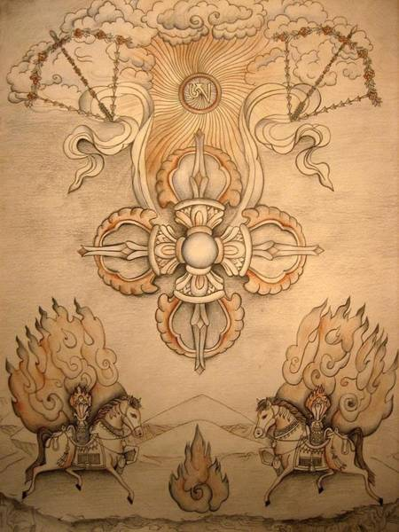 Dzogchen Painting - Vajra With Wind Horses by Vera Atlantia