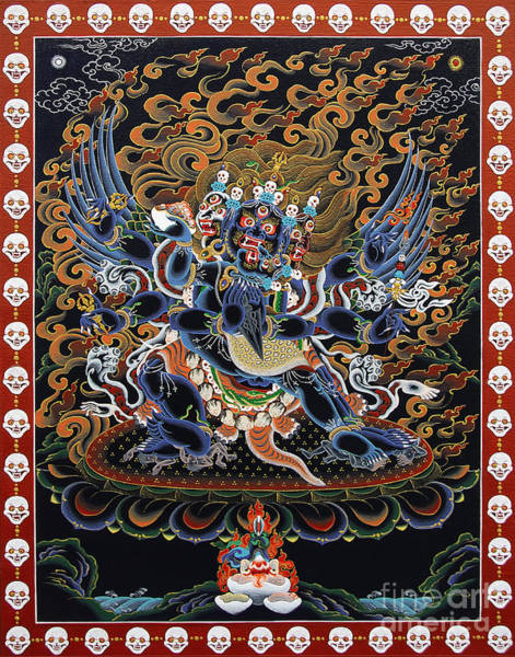 Flaming Sword Painting - Vajrakilaya Dorje Phurba by Sergey Noskov