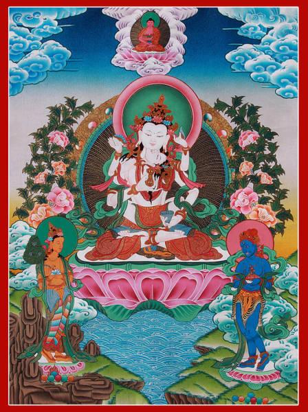 Thangka Painting - Vajrasattva Sexual Union Art by Ts