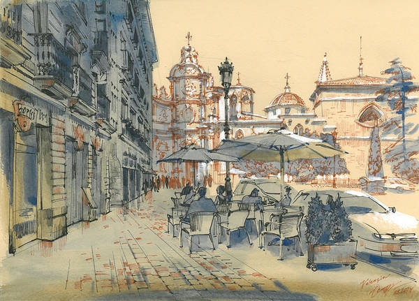 Light Blue Drawing - Valencia. View Of The Cathedral by Olga Sorokina