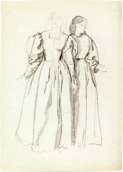 Wall Art - Drawing - Valentine Cameron Prinsep, Study Of Two Young Women Recto by Quint Lox