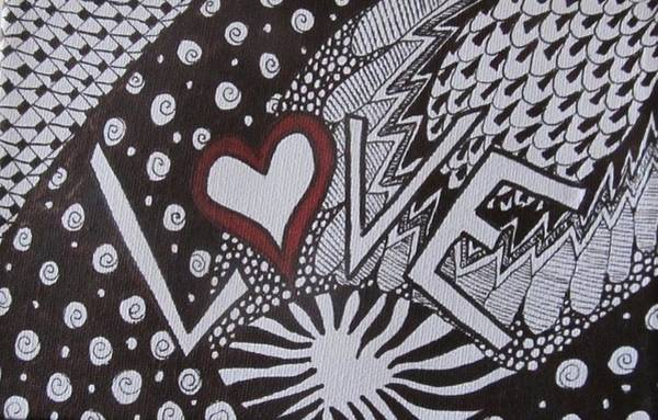 Tangle Painting - Valentine Love Zen Tangle by Sharon Duguay