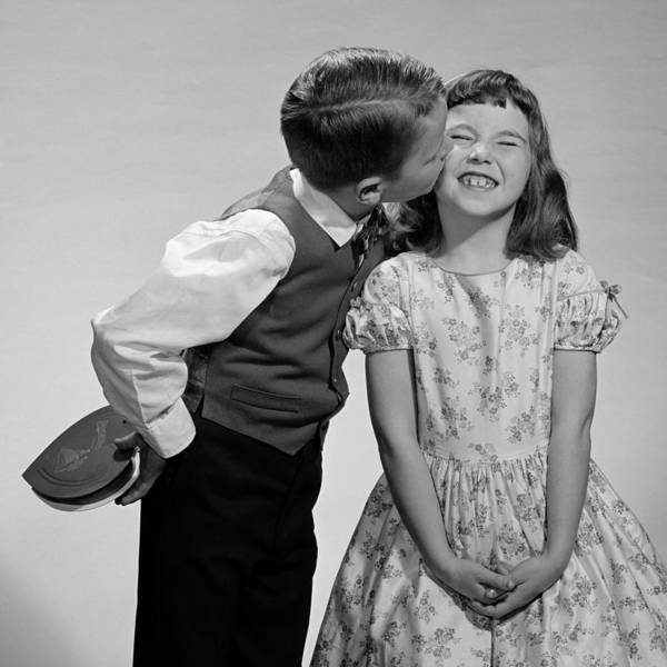 Photograph - Valentines Day Kiss, 1950-60s by B. Taylor/ClassicStock