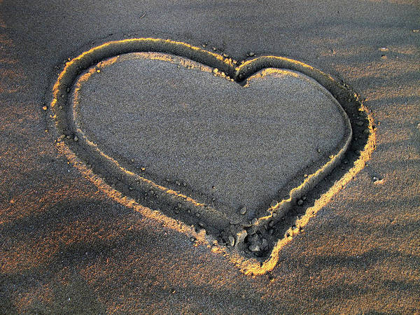 Valentine's Day - Sand Heart Art Print