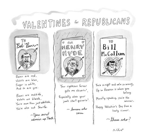 Republican Drawing - 'valentines For Republicans' by Roz Chast