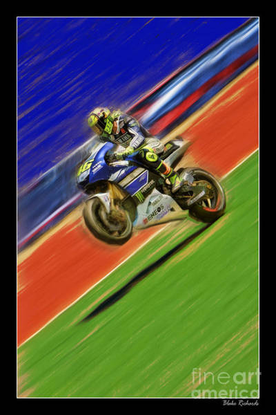 Photograph - Valentino Rossi Wheely Down The Blue Red And Green by Blake Richards
