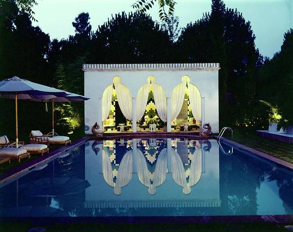 Deck Chair Photograph - Valentino's Swimming Pool by Horst P. Horst