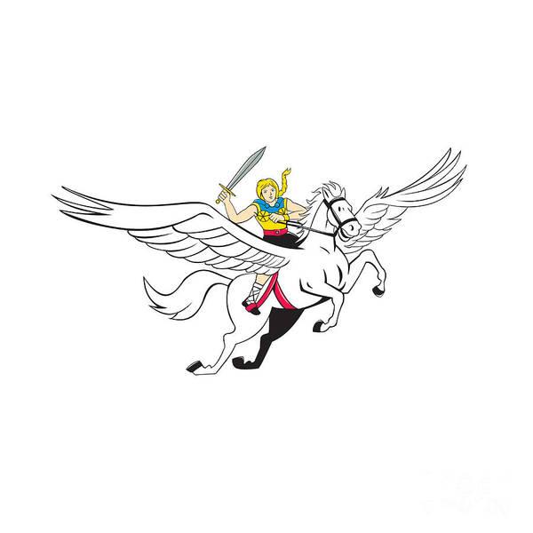 Valkyrie Digital Art - Valkyrie Amazon Warrior Flying Horse Cartoon by Aloysius Patrimonio