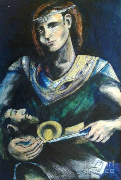 Flaming Sword Painting - Valkyrie by Fiona Glass W