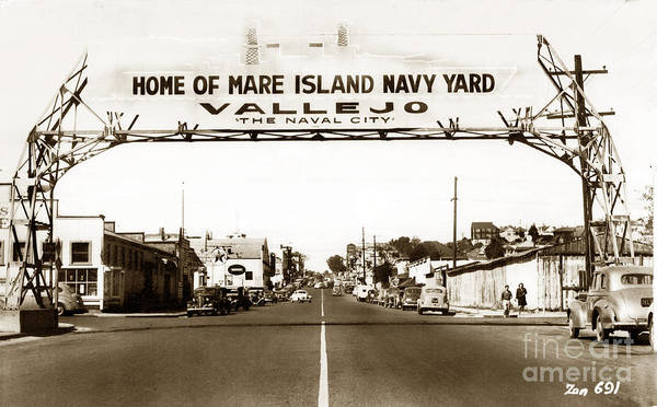 Photograph - Vallejo The Navy City Home Of Mare Island Navy Yard Circa 1941 by California Views Archives Mr Pat Hathaway Archives