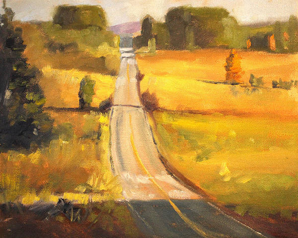 Prairie Grass Painting - Valley Road by Nancy Merkle