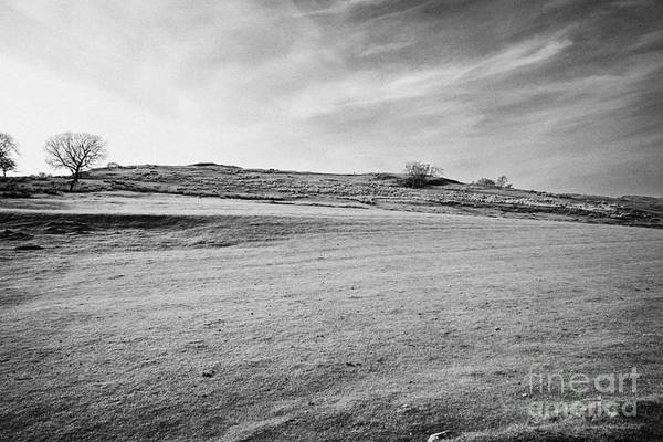 Hadrians Wall Photograph - Vallum Earthwork Below The Rear Of A Section Of Hadrians Wall At Walltown Crags Northumberland Uk by Joe Fox