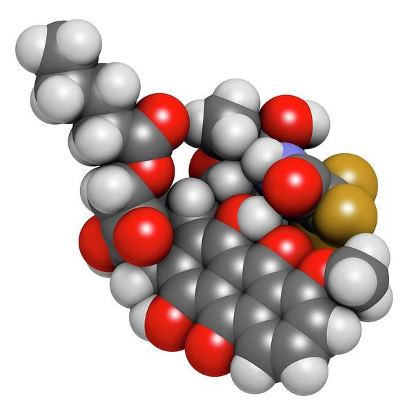 3d Model Photograph - Valrubicin Bladder Cancer Drug Molecule by Molekuul