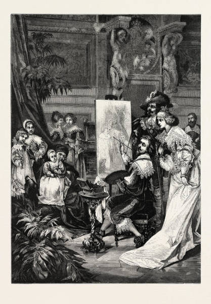 Wall Art - Drawing - Van Dyck Painting Of The Children Of Charles by English School