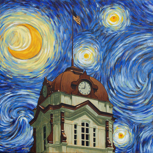 Courthouse Painting - Van Gogh Courthouse by Glenn Pollard