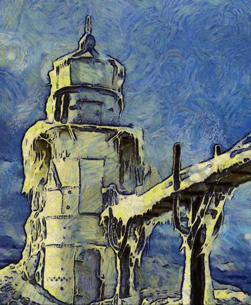 Wall Art - Painting - The Frozen Lighthouse Lake Michigan by Dan Sproul