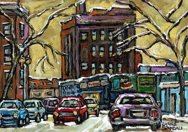 Painting - Van Horne Corner Ave Du Parc On The Road Again Montreal Cars In January City Life Paintings Cspandau by Carole Spandau