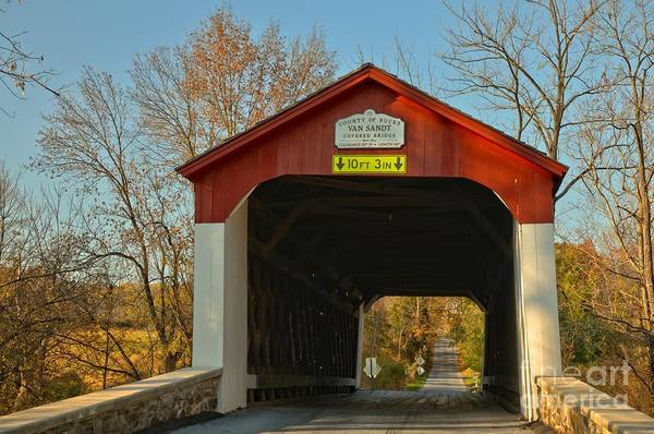 Photograph - Van Sant Covered Bridge Bucks County by Adam Jewell