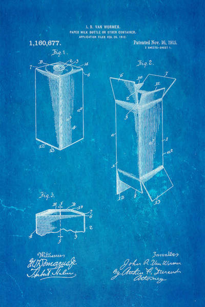 Milk Farm Restaurant Photograph - Van Wormer Milk Carton Patent Art 1915 Blueprint by Ian Monk