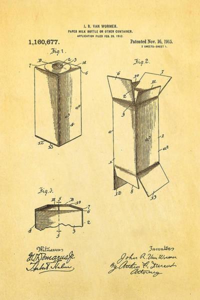 Milk Farm Restaurant Photograph - Van Wormer Milk Carton Patent Art 1915 by Ian Monk