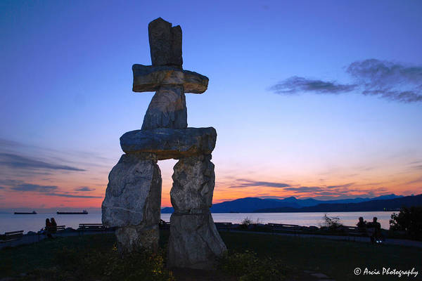 Photograph - Vancouver Bc Inukshuk Sculpture by Ken Arcia
