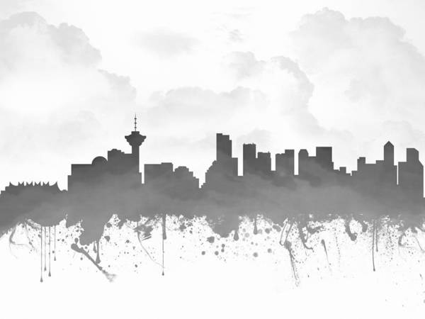 Vancouver Digital Art - Vancouver British Columbia Skyline - Gray 03 by Aged Pixel